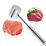 LOVE MEI Heavy Duty Food Grade 304 Stainless Steel Kitchen Meat Tenderizer Mallet Dishwasher Safe Dual-Sided Sturdy Steak Hammer for Tenderizing, Flattening, Pounding and BBQ Tool