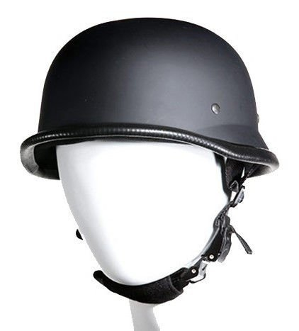(MOTORCYCLE GERMAN NOVELTY RIDERS PADDED FLAT BLACK HELMET 3 PLY FIBER CHIN STRAP S,M,L,XL,2XL (M, FLAT))