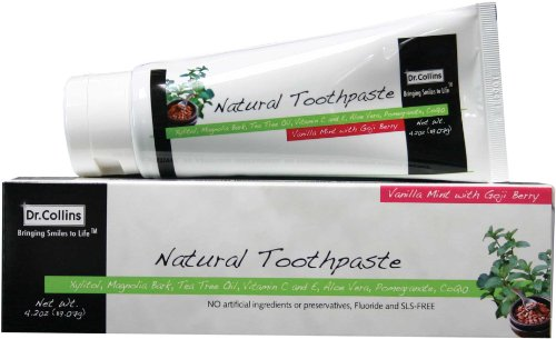 Dr. Collins Natural Toothpaste, Vanilla Mint with Goji Berry, 4.2 Ounce (Pack of 2)