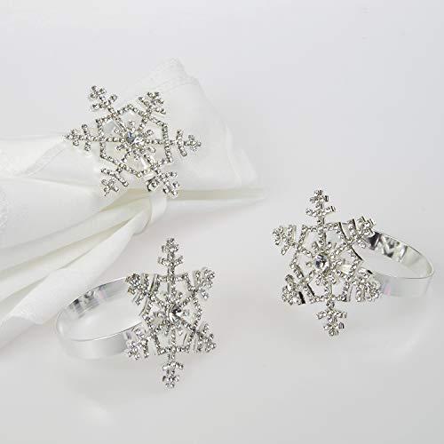Snowflake Napkin Rings (Poitemsic Silver Snowflake Napkin Rings with Diamond for Christmas Thanksgiving Table Decoration(Set of)