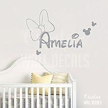 Vinyl Wall Decal Sticker Minnie Mouse Kids Nursery Disney Custom Name r1887