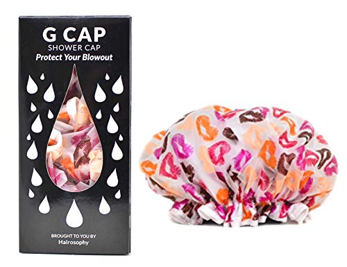Hairosophy G CAP Multi-use Shower Cap, X Large, Waterproof and Terry Lined To Prolong and Maintain Styled Hair, Kiss Me