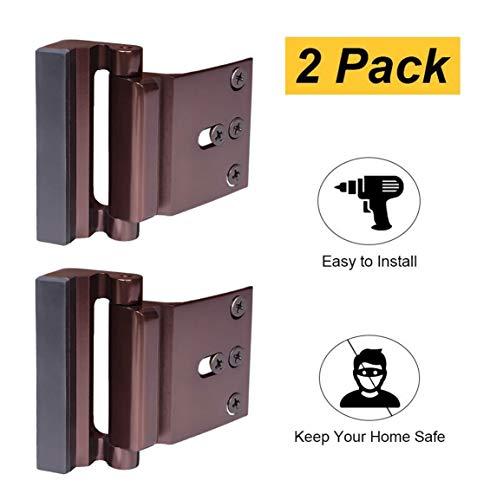- 2 Pack Door Reinforcement Locks with 8 Screws, Defender Security Door Lock for Toddler, Childproof Door Lock Night Lock Withstand 800 Lbs Brown