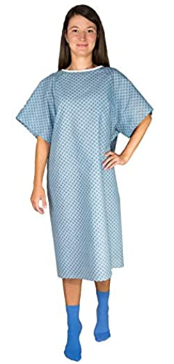 3 Pack - Blue Hospital Gown with Back Tie/Hospital Patient Gown with Ties - One Size Fits All