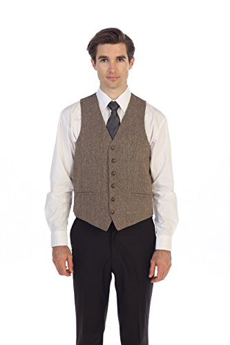 Gioberti Men's 6 Button Slim Fit Formal Herringbone Tweed Vest, Barleycorn Tan, Small