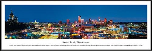 Saint Paul, Minnesota - Blakeway Panorama Print with Standard Frame (City Mn River Glass)