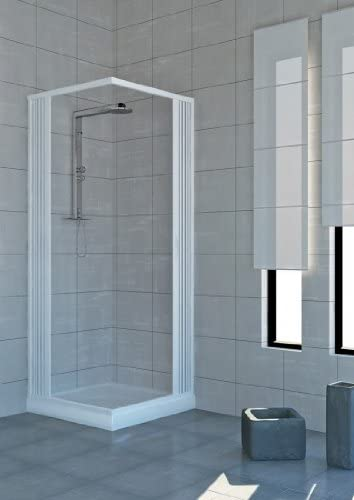 Mampara de ducha de 80 x 100 cm de dos lados plegable, apertura ...