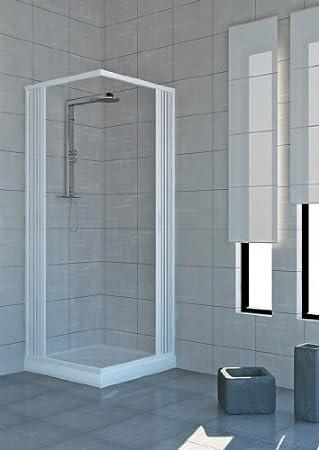 Cabina de ducha con puertas plegables - PVC - 2 - 80 x 120 cm lados: Amazon.es: Hogar