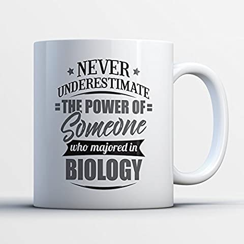 Biology Coffee Mug - Never Underestimate Someone Majored In Biology -Funny 11 oz White Ceramic Tea Cup - Humorous and Cute Biology Major Gifts with Biology (Ap Biology Barrons 5th)