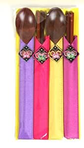 Wooden Spoons Set Special Experience High-grade Fresh and Strong and Beautiful Korea Traditional Patterns (2set)