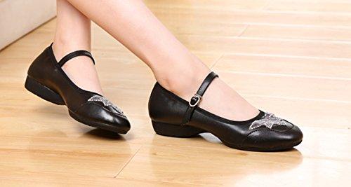 VECJUNIA Damen Knöchelriemen Wölbungs Athletische Turnschuhe Modernen Flachen Mund Tanz Schuhen Schwarz