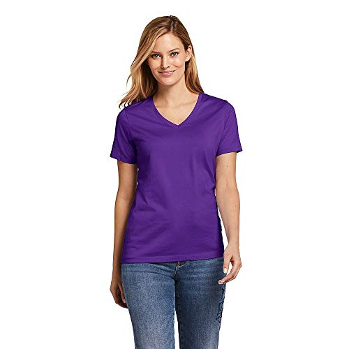 Lands' End Women's Tall Supima Cotton Short Sleeve T-Shirt - Relaxed V-Neck, XL, Purple Jewel
