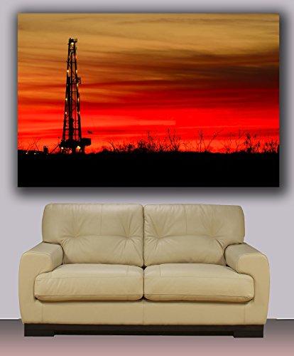 oil drilling rig sunset, Huge canvas print, modern art, wall decoration 30