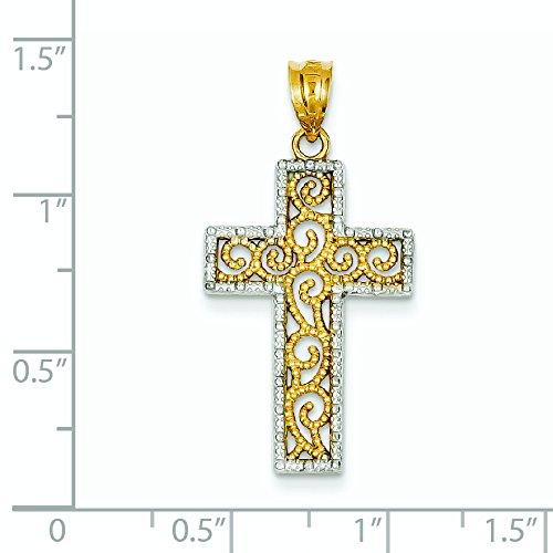 14 carats et Rhodium JewelryWeb-Pendentif croix en filigrane pour femme