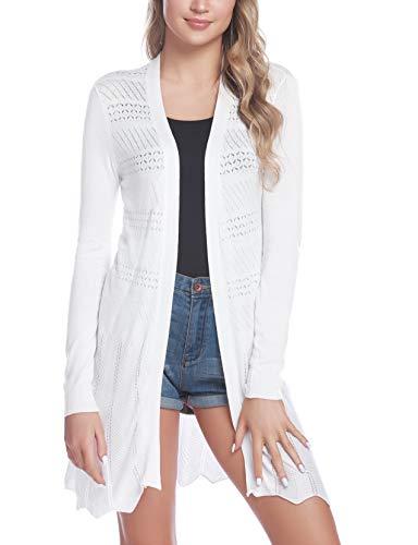 Sykooria Womens Casual Long Sleeve Open Front Cardigan Lightweight Sweater