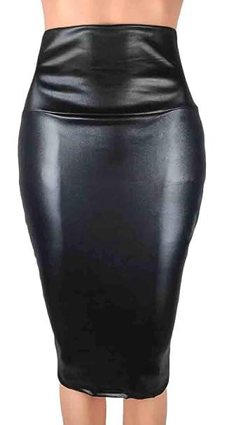 NEW BLACK MINI LENGTH SYNTHETIC LEATHER BODYCON SKIRT LADIES SLIT WOMENS PLAIN
