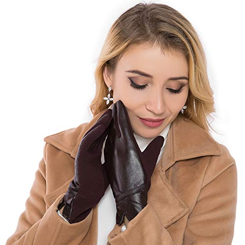Women Leather Gloves Winter Touchscreen Warm Plain Gloves- Touch screen Texting for Phone(coffee) (Ladies Brown Leather Gloves)