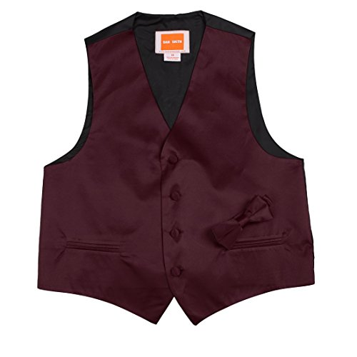 Kids Solid Waistcoat Microfiber For Anniversary Baby Vest with Matching Bow Tie,Burgundy,Size 12A (Smith Bow)