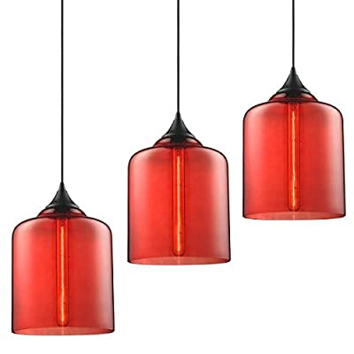 """Modern Industrial Vintage Glass Globe Pendant Light - MKLOT Minimalist Eco-Power Edison Style 7.09"""" Wide Hanging Chandelier Ceiling Lighting Mounted Fixture with Red Glass"""