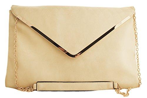 Ravedoll Borsa a Busta Panna - Morbida borsa tipo Busta o Letter, una maxi clutch con catena dorata, da portare a mano o tracolla.
