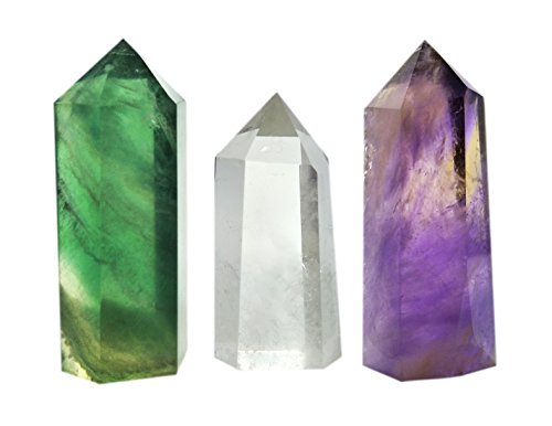 Set of 3 Healing Crystal Wands of 3 Stones: Clear Quartz, Fluorite, Amethyst Pointed & Faceted Prism Bars for Reiki Chakra Meditation Therapy Decor