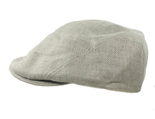 Biddy Murphy Mens Flat Irish Hat Linen Three Panel Grey Made in Ireland 2XL