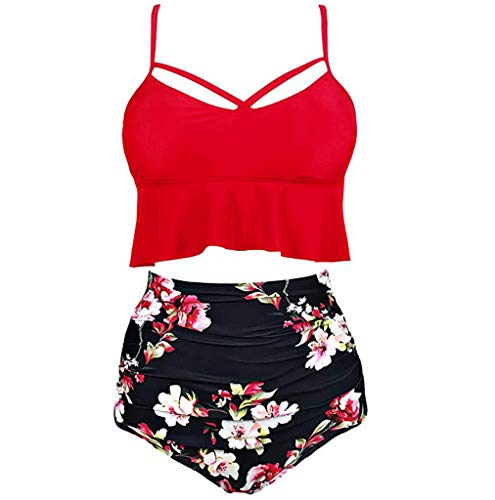 Womens Vintage Swimsuits Polka Underwire High Waisted Ruffle Print Bikini Set Two Piece (XXXL, Red) ()