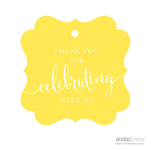 - Andaz Press Fancy Frame Gift Tags, Thank You For Celebrating With Us, Yellow, 24-Pack, For Baby Bridal Wedding Shower, Kids 1st Sweet 16 Quinceanera Birthdays, Anniversary, Graduation, Baptism, Christening, Confirmation, Communion Party Favors, Gifts, Boxes, Bags, Treats and Presents
