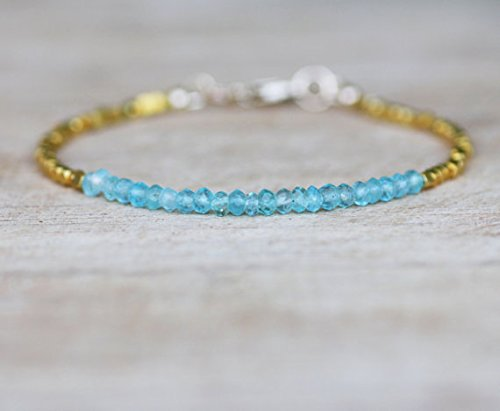 JP_Beads Natural Ocean Green Apatite Bali Bead Bracelet in 24K Vermeil and Gold Filled 3mm ()