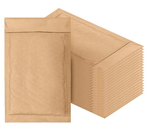 Amiff Natural Kraft Bubble mailers 4x7 Brown Padded envelopes 4 x 7. Pack of 20 Kraft Paper Cushion envelopes. Exterior Size 5x8 (5 x 8). Peel and Seal. Mailing, Shipping, Packing, Packaging. ()