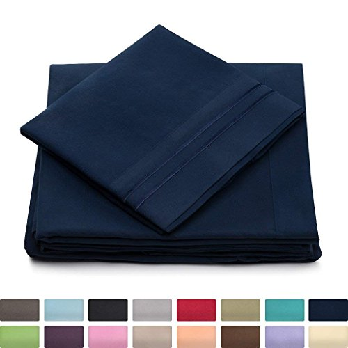 Split King Bed Sheets Navy Blue Luxury Sheet Set Deep Pocket Super Soft Hotel Bedding Cool Wrinkle Free 2 Fitted 1 Flat 2 Pillow Cases Dark Blue Splitking Sheets 5 Piece