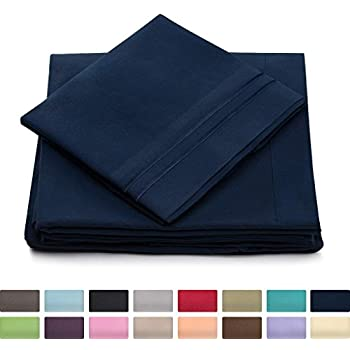 Twin XL Size Bed Sheets - Navy Blue Luxury Sheet Set - Deep Pocket - Super Soft Hotel Bedding - Cool & Wrinkle Free - 1 Fitted, 1 Flat, 1 Pillow Cases - Dark Blue Twin XL Sheets - 3Piece