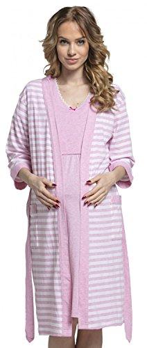 Happy Mama. Womens Maternity Nursing Nightdress Robe Set Stripes Pattern. 190p (Pink, US 6/8, M)
