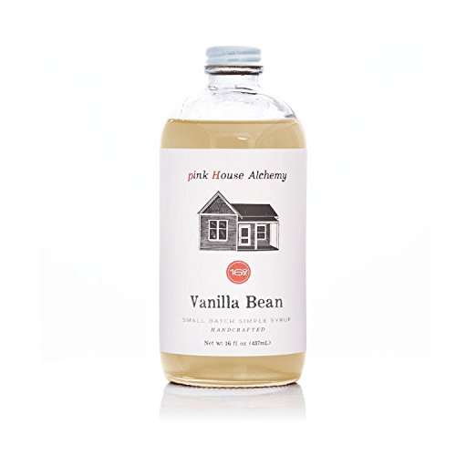 Pink House Alchemy Vanilla Bean - Simple Syrup 16 oz Cocktail Drink Mix - Use to Flavor Coffee - Hawaiian Shaved Ice - Dessert Topping - Using Only Fresh Beans - Free Book See Package (V 16)