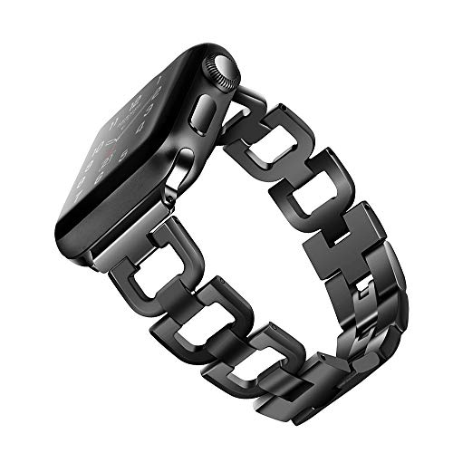 OULUCCI Compatible Apple Watch Band 42mm 44mm iWatch Series 4,Series 3, Series 2, Series 1, Fashion Stainless Steel Metal Wristband Strap 4 Colors Available (No Tool Needed) Black