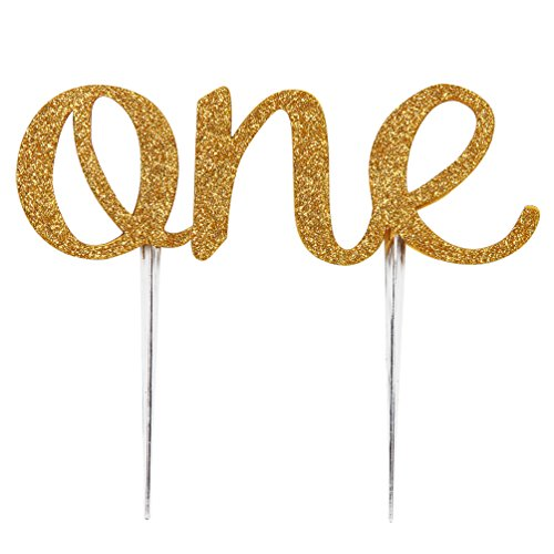 INNORU One Cake Topper 1st First Birthday Cake Decoration Double Sided Gold Glitter Stock