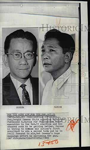 Historic Images - 1969 Wire Photo Sen. Sergio Osmena Jr. and President Ferdinand Marcos
