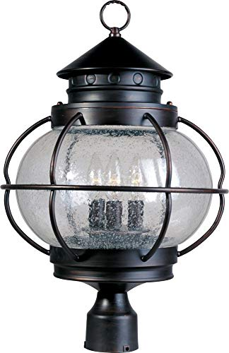 Maxim 30501CDOI Portsmouth 3-Light Outdoor Pole/Post Lantern, Oil Rubbed Bronze Finish, Seedy Glass, CA Incandescent Incandescent Bulb , 25W Max., Dry Safety Rating, 3000K Color Temp, Standard Triac/Lutron or Leviton Dimmable, Frosted Glass Shade Material, 5075 Rated Lumens