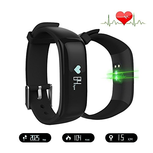 Smart Band Watchband Health Fitness Tracker with Heart Rate Monitor and Blood Pressure Sports Smart Wristband Pedometer Smart Bracelet Bluetooth Smart Watch For IOS Android Phone (P1-Black) by eSmart