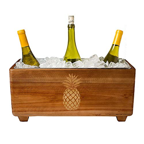 Wooden Wine Cooler - Pineapple Design, Galvanized Metal Insert, 3 Gallons, By Cathy's Concepts (Furniture Wine Cooler)