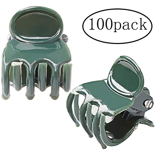 Pengxiaomei 100 Pack Orchid Clips, Dark Green Plant Support Clips, Garden Flower Vine Clips for Supporting Stems, Vines, Stalks to Grow Upright and Makes Flowers Plants Vegetables Healthier