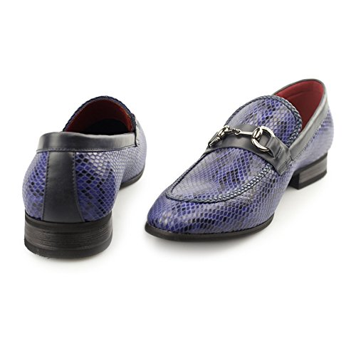 Casual Driving Buckle Designer Printed Navy Shoes Size Mens Lined Loafers Leather Snakeskin X0xA8A