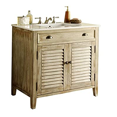 "36"" Abbeville Rustic Distressed Beige Farmhuose Bathroom Sink Vanity CF-28324W"