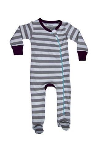 Cat & Dogma Certified Organic Infant/Baby Clothes Stripe/Eggplant Footie (6-12 - Outlets Prime Cincinnati