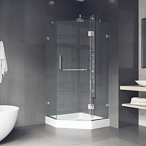 VIGO Piedmont 38 x 38-in. Frameless Neo-Angle Shower Enclosure with .375-in. Clear Glass and Chrome Hardware (Shower Base ()