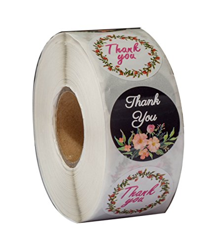 - Thank you stickers Roll - Bulk 1000 Floral label Stickers -2 Designs - Large Round 1.5 inch size stickers-Bridal and Baby showers wedding favors-Personal and Business use - Thanks