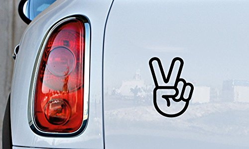 Hand Gesture Victory V Car Vinyl Sticker Decal Bumper Sticker for Auto Cars Trucks Windshield Custom Walls Windows Ipad Macbook Laptop Home and More ()