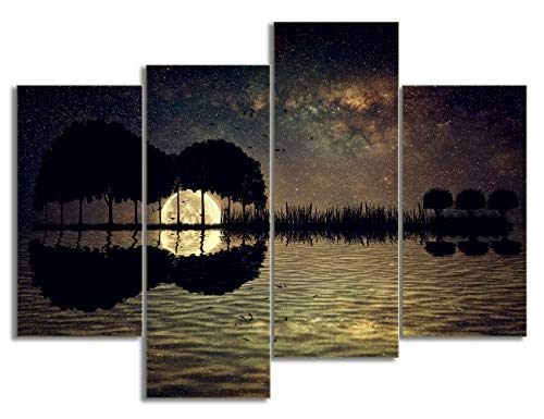 KALAWA Trees Arranged in a Shape of a Guitar on a Starry Sky Background in a Full Moon Night