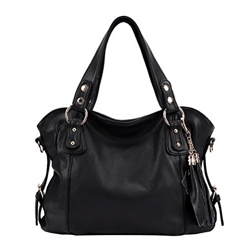 EUBags Womens Stylish Leather Hobo Bags with Tassels Shoulder Bag Handbag Black
