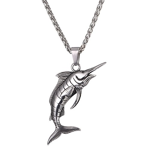 (U7 Personalized Vintage Ocean Jewelry Stainless Steel Swimming Swordfish Pendant Necklace for Men Boys)